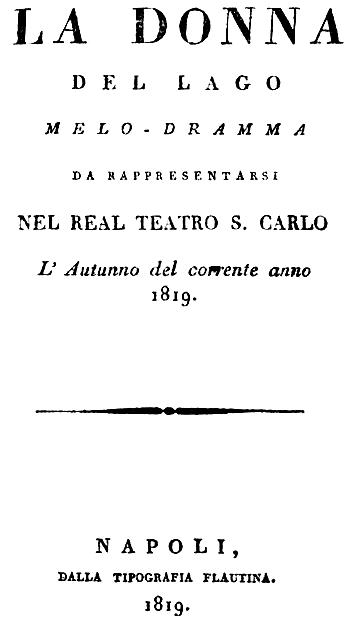 La donna del lago synopsis 1819