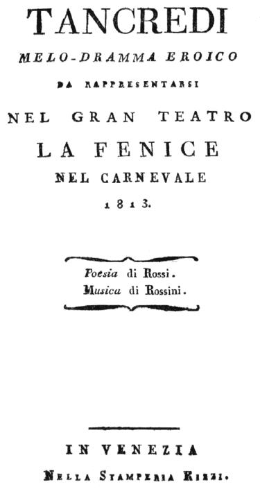 Tancredi synopsis 1813